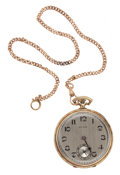 Timepieces:Pocket (post 1900), Howard 10 Size 14k Gold Watch With 14k Gold Chain. ...
