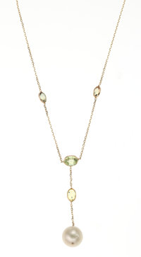 Peridot, Pearl, Gold Necklace