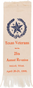 Miscellaneous:Ephemera, Texas Veterans Reunion Silk Ribbon....