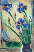 American:Still Life, MAURICE STERNE (American, 1878-1957). Still Life withIrises. Oil on masonite. 34 x 22-1/2 inches (86.4 x 57.2 cm).Init...