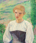 American:Portrait & Genre, MAURICE STERNE (American, 1878-1957). Portrait of a Young BlondeWoman from North Italy. Oil on canvas. 25 x 21-1/2 inch...