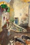 American, MAURICE STERNE (American, 1878-1957). Mexican Village. Oilon paper laid on masonite. 13-1/4 x 8-3/4 inches (33.7 x 22.2...