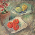 American:Still Life, MAURICE STERNE (American, 1878-1957). Still Life. Oil onmasonite. 20 x 20-1/2 inches (50.8 x 52.1 cm). Signed lower rig...