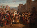 Fine Art - Painting, European:Antique  (Pre 1900), GUSTAVE-CHARLES DESCOSTILS (French, 19th Century). A KingEntering a Walled City, 1846. Oil on canvas. 35 x 46 inches(8...