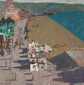 American, RON BLUMBERG (American, 1908-2002). Beach Town. Oil onmasonite. 48 x 48 inches (121.9 x 121.9 cm). Initialed lowerrigh...
