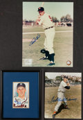 Baseball Collectibles:Others, Ted Williams, Ralph Kiner and Warren Spahn Signed Memorabilia Lotof 3....