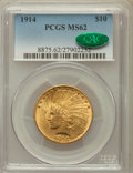 Indian Eagles: , 1914 $10 MS62 PCGS. CAC. PCGS Population (679/576). NGC Census:(727/469). Mintage: 151,050. Numismedia Wsl. Price for prob...