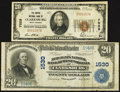 National Bank Notes:West Virginia, Clarksburg, WV - $20 1902 Plain Back Fr. 651 The Merchants NB of West Virginia Ch. # 1530; $20 1929 Ty. 1 The Empire N... (Total: 2 notes)