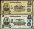 National Bank Notes:Kentucky, Louisville, KY - $5 1902 Plain Back Fr. 607 The NB of Kentucky Ch.# 5312. Mt. Sterling, KY - $5 1902 Plain Back Fr.... (Total: 2notes)