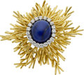 Estate Jewelry:Brooches - Pins, Cartier Lapis Lazuli, Diamond, Gold Brooch. ...