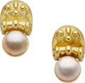 Estate Jewelry:Earrings, Marlene Stowe South Sea Cultured Pearl, 18k Gold Earrings. ...