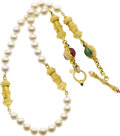 Estate Jewelry:Necklaces, Cynthia Bach Cultured Pearl, Multi-Stone, Gold Necklace. ...