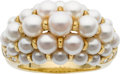Estate Jewelry:Rings, Cartier Cultured Pearl, Diamond, 18k Gold Ring. ...