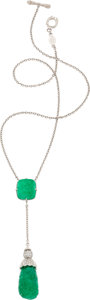 Estate Jewelry:Necklaces, Cynthia Bach Emerald, Diamond, Gold Necklace. ...