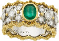 Estate Jewelry:Rings, Buccellati Emerald, Diamond, Gold Ring. ...