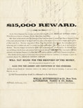 Western Expansion:Cowboy, WELLS, BUTTERFIELD & COMPANY $15,000 GOLDRUSH REWARD 1855.Buffalo, 3rd October, 1855. Great content Reward circular, fromW... (Total: 1 Item)