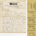 Western Expansion:Cowboy, TILLINGHAST & MAJORS STAGE AND EXPRESS LINE 1878 Shasta,(California). Very scarce Stagecoach letterhead from a veryelusive... (Total: 1 Item)