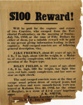 "Western Expansion:Cowboy, ""$100 REWARD"" KEEPER OF TERRITORIAL PENITENTIARY, W. T. 1883. ""$100Reward! Will be paid for the capture and return of two ... (Total:1 Item)"