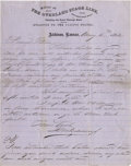 "Western Expansion:Cowboy, OVERLAND STAGE LINE, ATCHISON, KANSAS. BEN HOLLADAY. 1862 Atchison,Kansas, May 6th 1862. Rare letterhead from the ""Office o... (Total:1 Item)"