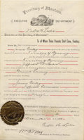 Miscellaneous:Ephemera, Document Territory of Montana Transportation of Fugitive fromTerritory of Wyoming 1888 -...
