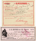 "Western Expansion:Cowboy, STAGE AND EXPRESS LICENSE, VIRGINIA CITY, MONTANA 1892. VirginiaCity, Montana. ""License granted, to S. R. Buford & Compan...(Total: 1 Item)"
