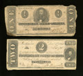 Confederate Notes:1862 Issues, T54 $2 1862 VG. T55 $1 1862 Good-VG.. ... (Total: 2 notes)