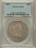 Early Half Dollars: , 1801 50C VF25 PCGS. PCGS Population (27/96). NGC Census: (4/75).Mintage: 30,289. Numismedia Wsl. Price for problem free NG...