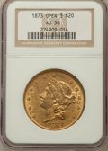 Liberty Double Eagles: , 1873 $20 Open 3 AU58 NGC. NGC Census: (2217/3704). PCGS Population(718/2870). Numismedia Wsl. Price for problem free NGC/...