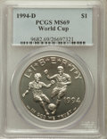 Modern Issues: , 1994-D $1 World Cup Silver Dollar MS69 PCGS. PCGS Population(1335/42). NGC Census: (1000/66). Mintage: 81,698. Numismedia ...