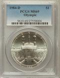 Modern Issues: , 1984-D $1 Olympic Silver Dollar MS69 PCGS. PCGS Population(1422/7). NGC Census: (988/10). Mintage: 116,000. Numismedia Wsl...