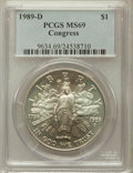 Modern Issues: , 1989-D $1 Congress Silver Dollar MS69 PCGS. PCGS Population(1794/3). NGC Census: (2270/38). Mintage: 135,203. Numismedia W...
