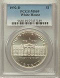 Modern Issues: , 1992-D $1 White House Silver Dollar MS69 PCGS. PCGS Population(2110/203). NGC Census: (1539/372). Mintage: 123,803. Numism...