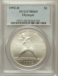 Modern Issues: , 1992-D $1 Olympic Silver Dollar MS69 PCGS. PCGS Population(2443/113). NGC Census: (3127/157). Mintage: 187,552. Numismedia...