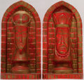 Miscellaneous:Gaming Collectibles, [Chess]. Pair of Chess-Related Bookends. Plaster of Paris.Approximately nine inches tall. Painted in gold and red. A fewti... (Total: 2 Items)