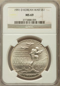 Modern Issues: , 1991-D $1 Korean War Silver Dollar MS69 NGC. NGC Census:(1855/290). PCGS Population (2669/263). Mintage: 213,049.Numismed...