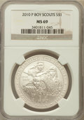 Modern Issues, 2010-P $1 Boy Scouts MS69 NGC. NGC Census: (1648/5523). PCGSPopulation (2932/2644). Numismedia Wsl. Price for problem fre...