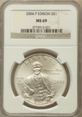 Modern Issues, 2004-P $1 Edison Silver Dollar MS69 NGC. NGC Census: (1780/857).PCGS Population (2241/671). Numismedia Wsl. Price for pro...