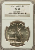 Modern Issues: , 1986-P $1 Statue of Liberty Silver Dollar MS69 NGC. NGC Census:(3456/216). PCGS Population (4099/155). Mintage: 723,635. N...