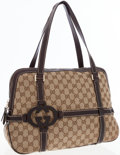 Luxury Accessories:Bags, Gucci GG Monogram Canvas Shoulder Bag with Leather Accents. ...