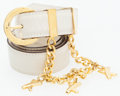 Luxury Accessories:Accessories, Paloma Picasso Beige Belt with Gold Chain and Logo Charms. ...