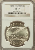 Modern Issues: , 1987-P $1 Constitution Silver Dollar MS69 NGC. NGC Census:(2818/479). PCGS Population (3494/332). Mintage: 451,629. Numism...