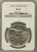 Modern Issues: , 1983-D $1 Olympic Silver Dollar MS69 NGC. NGC Census: (1219/13).PCGS Population (1688/6). Mintage: 174,014. Numismedia Wsl...