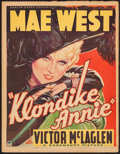 "Movie Posters:Comedy, Klondike Annie (Paramount, 1936). Trimmed Window Card (14"" X 18"").Comedy.. ..."