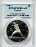 Modern Issues: , 1992-S $1 Olympic Silver Dollar PR69 Deep Cameo PCGS. PCGSPopulation (2281/58). NGC Census: (2356/26). Mintage: 504,505. N...