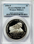Modern Issues: , 1994-P $1 Women Veterans Silver Dollar PR69 Deep Cameo PCGS. PCGSPopulation (1651/9). NGC Census: (1796/19). Mintage: 213,...