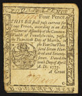 Colonial Notes:Pennsylvania, Pennsylvania April 10, 1777 4d Extremely Fine.. ...