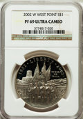 Modern Issues: , 2002-W $1 West Point Silver Dollar PR69 Ultra Cameo NGC. NGCCensus: (3652/1661). PCGS Population (3048/208). Numismedia W...