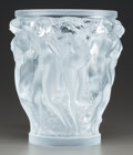 Glass, A LALIQUE FROSTED AND MOLDED GLASS BACCHANTES VASE. Post 1945. Marks: Lalique France. 9-1/2 inches high (24....