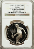 Modern Issues: , 1996-P $1 Olympic/Tennis Silver Dollar PR69 Ultra Cameo NGC. NGCCensus: (1108/8). PCGS Population (1174/9). Numismedia Ws...