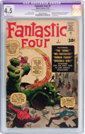 Silver Age (1956-1969):Superhero, Fantastic Four #1 (Marvel, 1961) CGC Apparent VG+ 4.5 Slight (A)Cream to off-white pages....